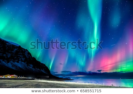 northern lights in green and violet colors stockfoto © sonya_illustrations