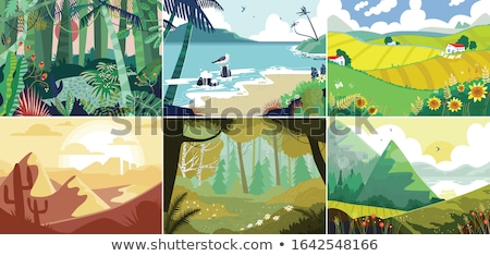 Background scene with forest in valley Stock photo © bluering