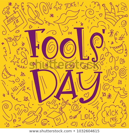 Greeting Card Template for April Fool's Day, Doodle Stock photo © lissantee