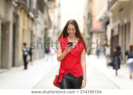 mobil · hiúság · portré · gyönyörű · fiatal · barna · hajú - stock fotó © iofoto