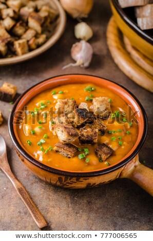 soep · gebakken · brood · vlees · tomaat · vintage - stockfoto © peteer