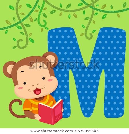Alfabeto piastrelle scimmia leggere illustrazione lettura Foto d'archivio © lenm