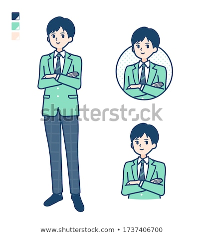 Schooljongen groene ingesteld vakantie stress vector Stockfoto © toyotoyo
