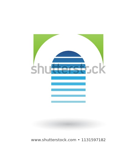 blue and green reversed u icon for letter a vector illustration stock photo © cidepix
