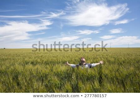 Imádkozik eső gazdálkodás termés nő fehér ruha Stock fotó © lovleah