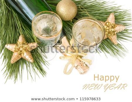 Photo stock: Noël · nouvelle · année · rose · ornement · couronne · carte