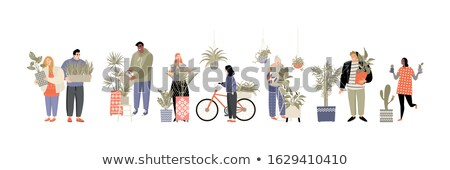 Flowerpot decorated with flowers isolated on white background. Vector cartoon close-up illustration. Stock photo © Lady-Luck