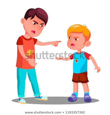fiú · megfélemlítés · lány · gonosz · kicsi · gyerek - stock fotó © pikepicture
