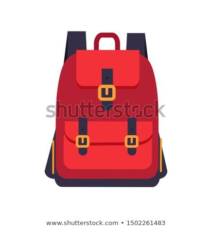 Stock fotó: Piros · hátizsák · fekete · színes · szalag · izolált