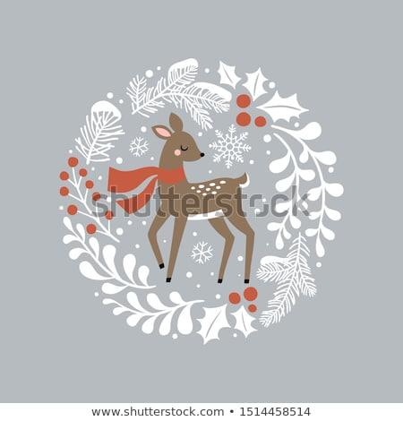 christmas card with elegant wreath of snowy holly berries stock photo © isveta