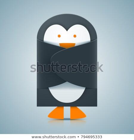 бумаги пингвин конверт икона вектора прибыль на акцию Сток-фото © rwgusev