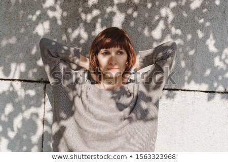 Bastante morena cinza suéter meias sessão Foto stock © acidgrey