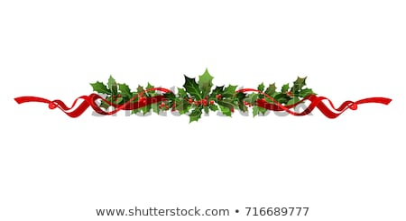 Red Ribbon With Holly Berry And Poinsettia Stock photo © barbaliss