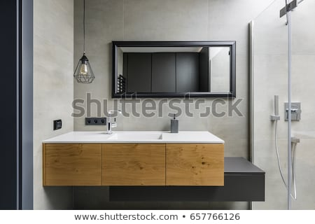 Tükör faliszekrény fürdőszoba csempézett fal üveg Stock fotó © magraphics