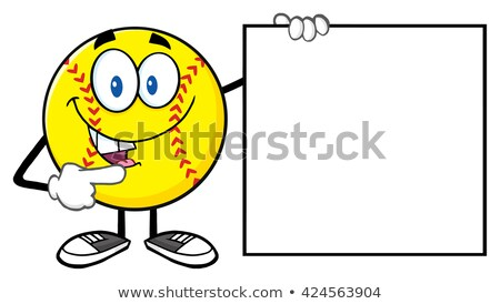 Talking Softball Cartoon Mascot Character Pointing To A Sign With Text Softball. Stock photo © hittoon