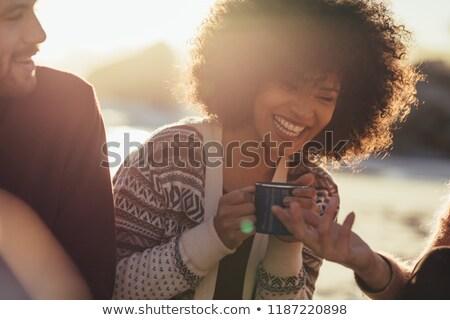 nők · kempingezés · kettő · nők · sátor · osztás - stock fotó © deandrobot
