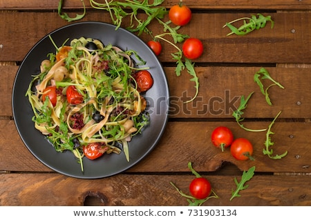 Porción pasta tagliatelle alimentos fondo mesa Foto stock © Alex9500