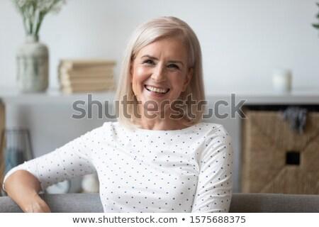 retrato · risonho · mulher · loira · vermelho · ano · novo · traje - foto stock © deandrobot