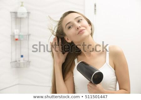 Elektromos hajszárító izolált fehér haj fekete Stock fotó © serg64