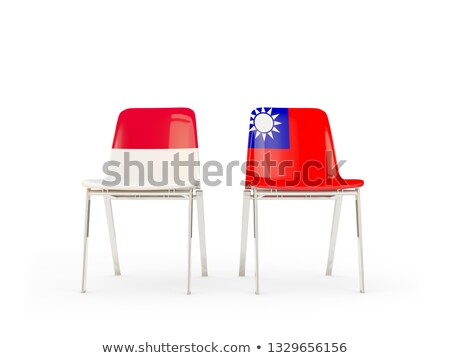 Two chairs with flags of Indonesia and taiwan Stock photo © MikhailMishchenko