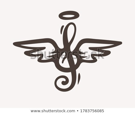 Treble clef sign with wings and nimbus. Idea for tattoo Stock photo © LoopAll
