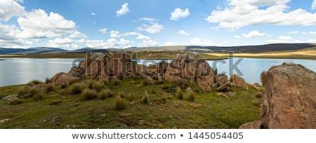 felhők · tó · park · hegyek · panoráma · távoli - stock fotó © lovleah