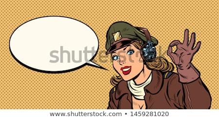 W porządku gest dziewczyna kobieta retro pilota Zdjęcia stock © studiostoks