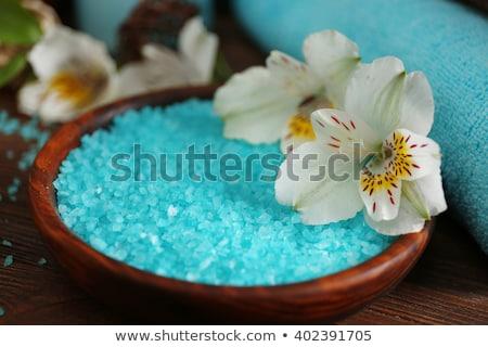 Blue sea salt in wooden spoon, sea salt for spa Stock photo © tycoon