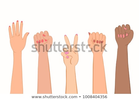 Color Woman Hand Clenched Finger In Fist Gesture Vector Stock photo © pikepicture