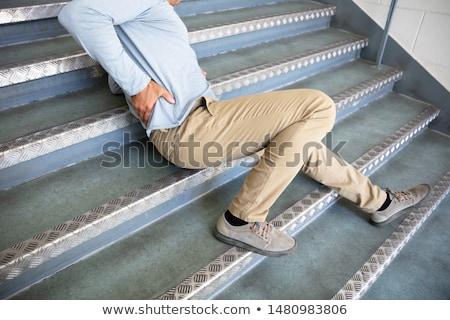 érett · férfi · lépcsőház · cédula · ősz · baleset · otthon - stock fotó © andreypopov
