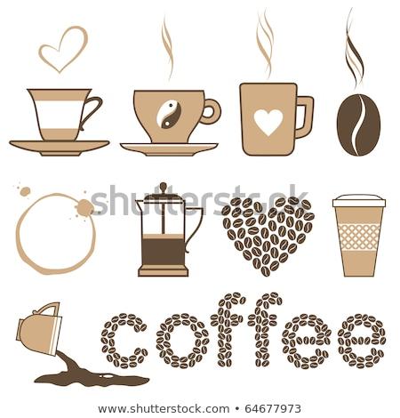 Siyah kahve fincan ikon yalıtılmış bej vektör Stok fotoğraf © cidepix