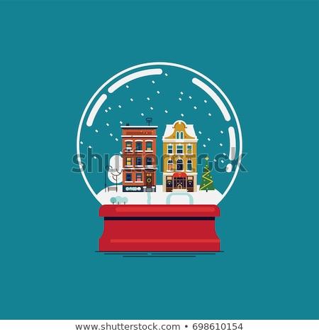 Sneeuw wereldbol christmas geschenken souvenir vector Stockfoto © pikepicture