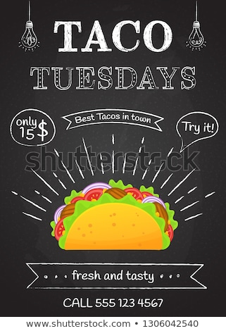 Traditional taco Tuesday poster with delicious tacos, Mexican food Stock photo © MarySan