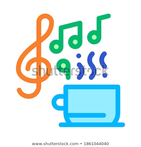 Stock photo: Hot Drink Cup And Relax Music Biohacking Icon Vector Illustration