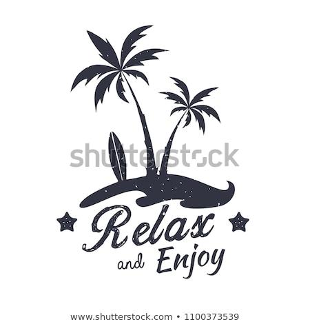 レトロな リラックス シルエット ロゴ 座って 自然 ストックフォト © barsrsind