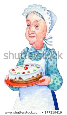 Cartoon starszych kobiet tort ilustracja sztuki Zdjęcia stock © bennerdesign