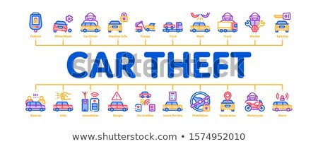 Car Theft Minimal Infographic Banner Vector Stock photo © pikepicture