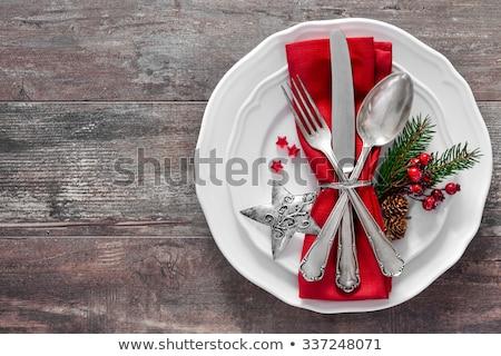 Vacaciones mesa marrón servilleta plata cubiertos Foto stock © Anneleven