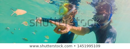 Subaquático retrato filho pai juntos bandeira Foto stock © galitskaya