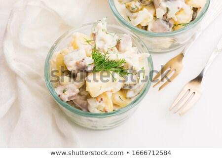 Salada pepino batata maionese mostarda fundo Foto stock © joannawnuk