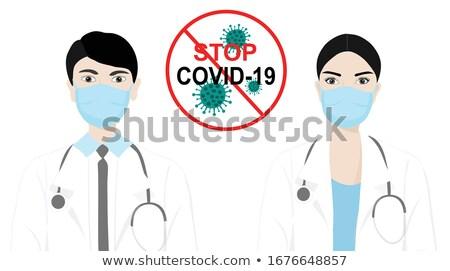 Stock photo: Coronavirus poster design with female doctor wearing mask