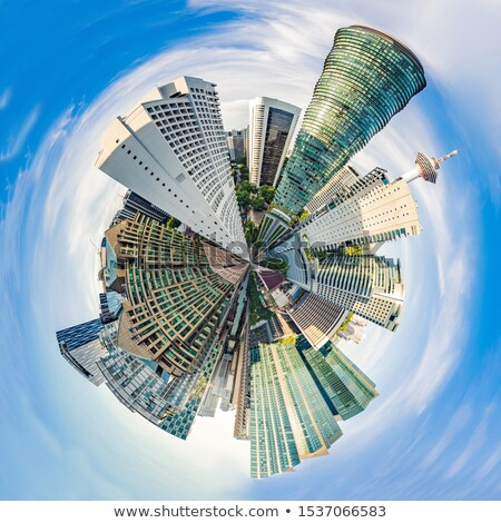Körkörös sarki panoráma felhőkarcolók Kuala Lumpur Malajzia Stock fotó © galitskaya