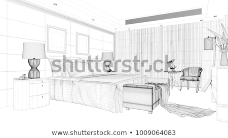 3D wireframe model bed matras deken Stockfoto © magraphics