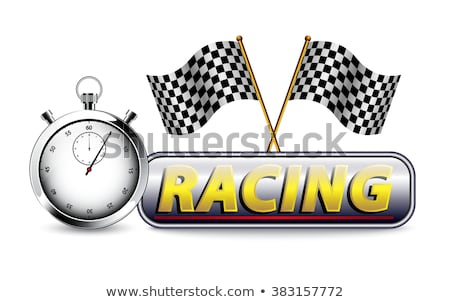 Stockfoto: Checkered Flag With A Stopwatch Background