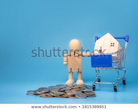 Wooden house model standing on coins and hand Stock photo © DenisMArt