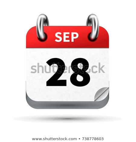 Bright realistic icon of calendar with 28 september date isolated on white Stock photo © evgeny89