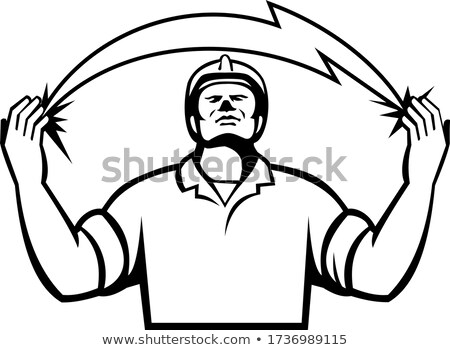 Electrician With Lightning Bolt Coming Out of Hands Retro Black and White Stock photo © patrimonio