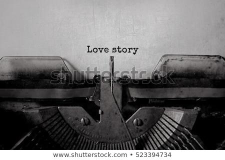 kırmızı · gül · eski · yazarak · makine · iş · ofis - stok fotoğraf © inaquim
