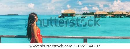 Tahiti lüks seyahat plaj seyir hedef Stok fotoğraf © Maridav