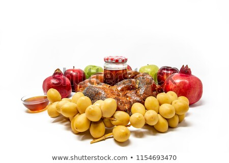 яблоки меда хлеб традиционный фрукты Сток-фото © klsbear